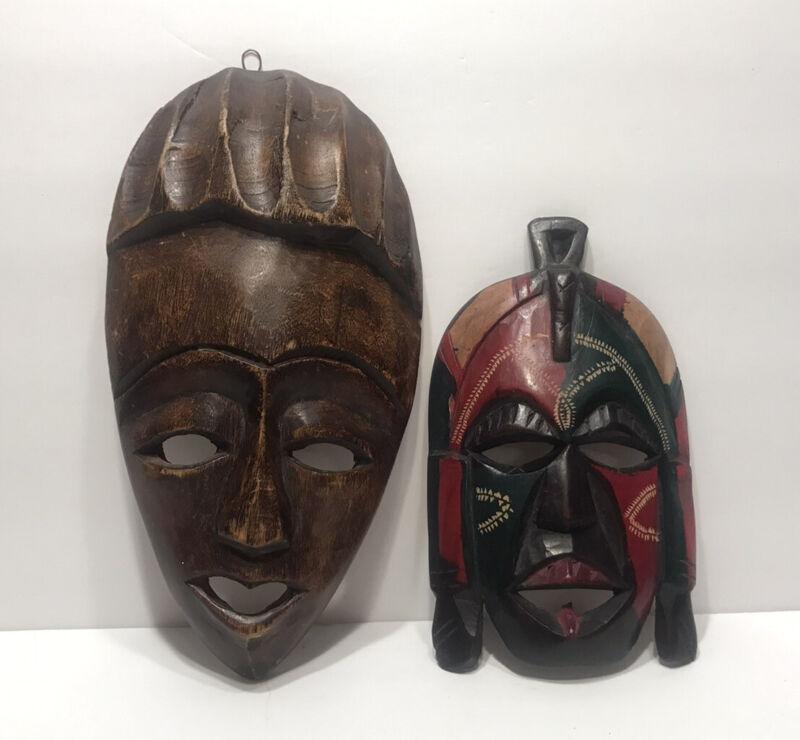 2 Vintage Hand Carved Wood Tribal Mask Wall Art...Haiti & Kenya