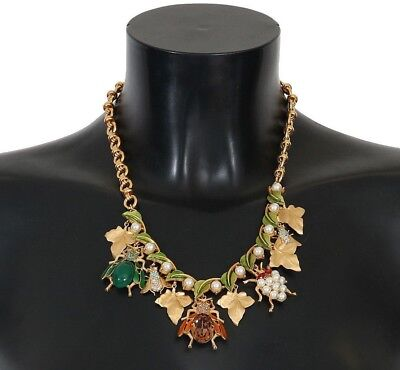 NEW $1800 DOLCE & GABBANA Necklace Gold Brass Crystal Insect SICILY Charms Chain
