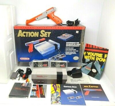 Nintendo NES-001 Action Set - Complete In Box CIB w/ Foam - Authentic OEM - VG