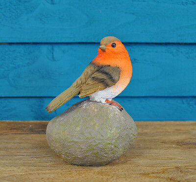 Christmas Robin Bird on a Stone Resin Garden Ornament *Great Gift*