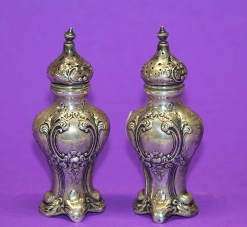 Antique Gorham Sterling Silver Salt and Pepper Shakers 438 No Monogram Chantilly