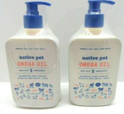 2-PK of 16 oz Native Pet Salmon Oil for Dogs Fish Oil Omega 3 Only 5 Ingredients