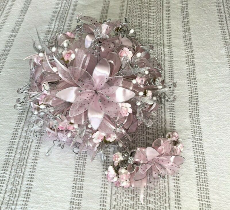 Quinceanera Bouquet/Ramo Light Pink about 12 inches wide