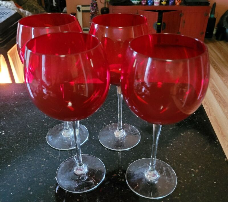 Set of 4 Ruby Red Balloon Wine Goblets Glasses