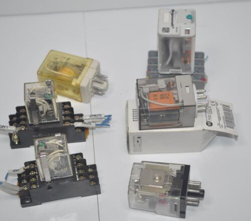 Lot of Relays and Bases - Allen-Bradley Magnecraft Tyco Omron