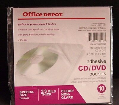 Office Depot Adhesive CD/DVD Pockets Package of 10 Pockets 534597 NEW
