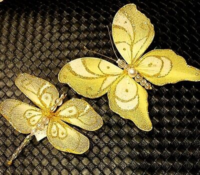 Dragonfly Ornaments (SET/2 GORGEOUS DRAGONFLY BUTTERFLY Christmas Ornaments K Adler Holiday)