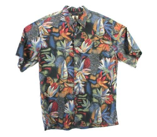 Tori Richard Honolulu Sz L Mens Button Shirt 100% Cotton Lawn Hawaiian Palm Leaf