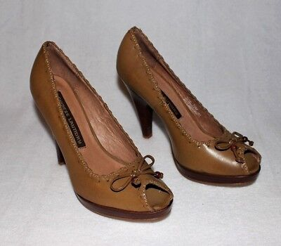 Chinese Laundry Open Toe Pumps (NEW Chinese Laundry tan leather stilettos heels open toe pumps NWOT Size 7.5)