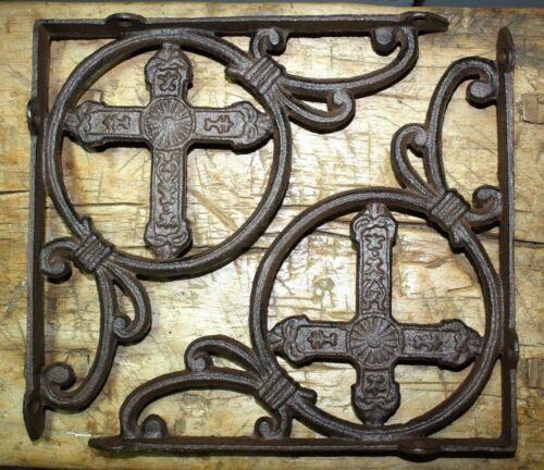 2 Cast Iron Antique Style HUGE CROSS Brackets Garden Braces Shelf Bracket HD