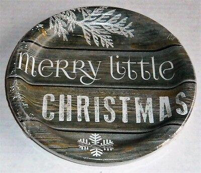 WOODGRAIN CHRISTMAS  Luncheon Plates 10 Ct  Rustic Christmas Paper Luncheon Plates