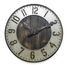Rustic Punched Metal Large Wall Art Clock Vintage Wood Home Decor Industrial