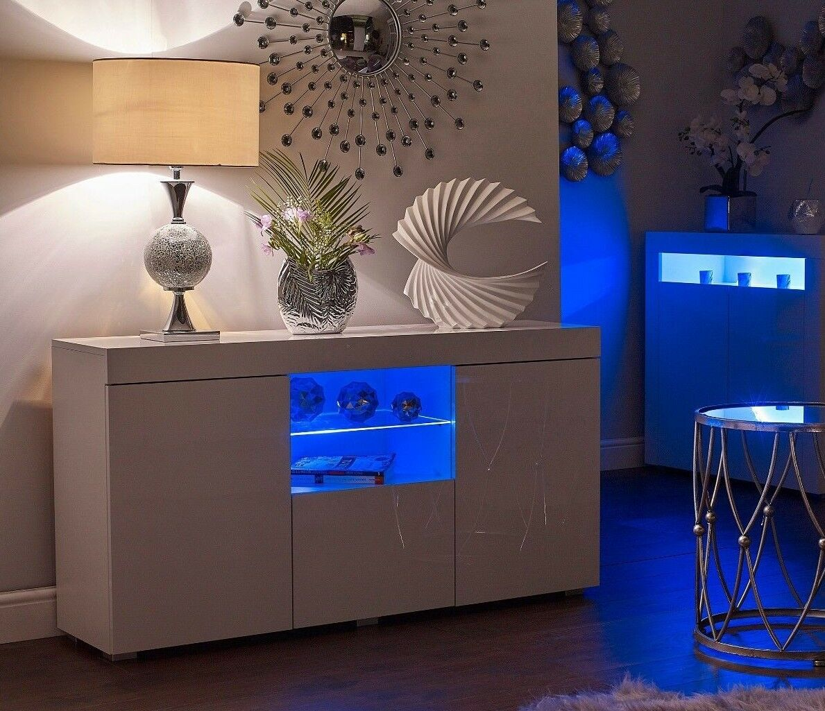 White Gloss Kitchen Cabinets Ebay: WHITE HIGH GLOSS Top Doors Sideboard Display Cabinet