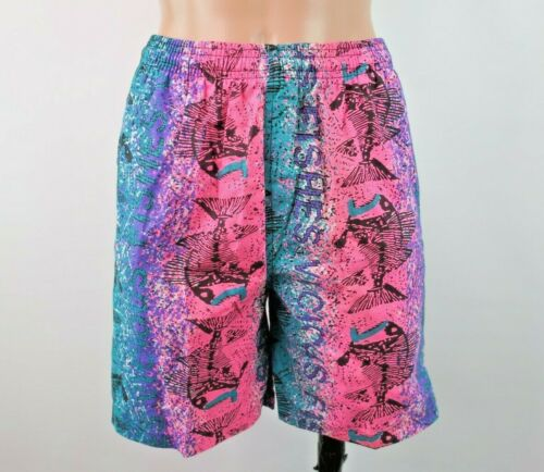 VTG 80s Vicious Fishes Swim Trunks Shorts NEON All Over Print Fossil 6X-7 NWOT