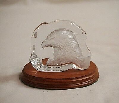 2 Pieces Clear Glass w Frosted Eagle Head Display on Wooden Base Shelf Decor