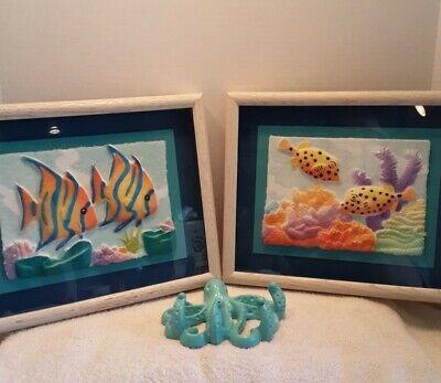 Figi Graphics Paper 3D Art (2) Tropical Fish Shadow Box Pics and Octopus Hook
