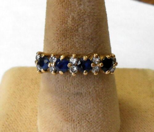 Vintage Estate 14K Gold 10 Diamond 4 Blue Sapphire Ladies Ring Size 6.5