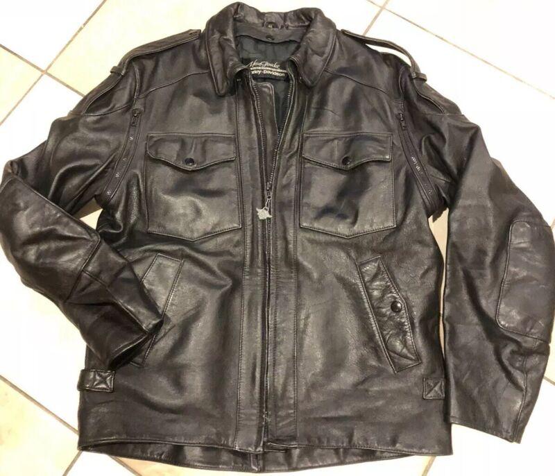 Men's Hein Gericke Harley Davidson Black Leather jacket, Sz. 46 Tall