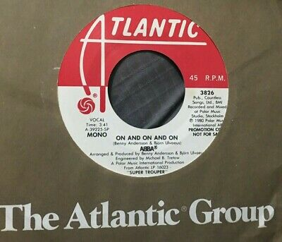 "ABBA ORIGINAL 7"" MONO/STEREO PROMO 45 ON AND ON AND ON W/ ATLANTIC SLEEVE / M-"