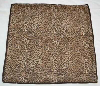 "Pottery Barn Leopard Animal Print Brown Pillow Cover 24"" Square Linen & Cotton"