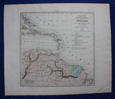 Original antique map ANTILLES, CARIBBEAN, Levasseur, Fisquet, Pilon, 1878