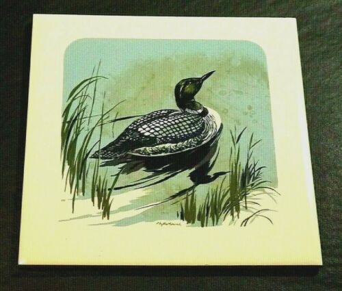 "CERAMIC SCREEN CRAFT PHYLLIS HOWARD TILE TRIVET DUCK DESIGN CORK BACK 6""X6"""