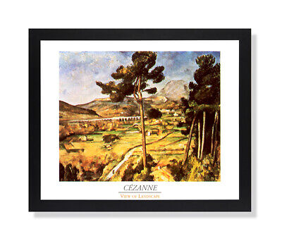 Tuscan Landscape Art (Tuscan Landscape Lake Trees Wall Picture Black Framed Art)