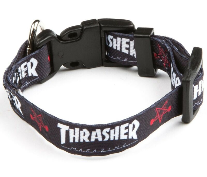 "Thrasher Magazine SKATE GOAT/MAG LOGO 1"" Wide Skateboard DOG COLLAR LARGE"