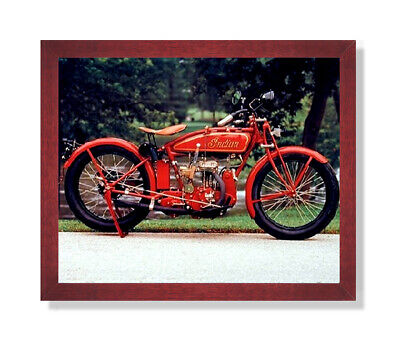 Old Red Vintage Indian Motorcycle Wall Picture Cherry Framed Art Print