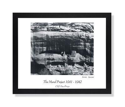 Ansel Adams B/W Photo Cliff Dwelling Wall Picture Black Framed Art Print
