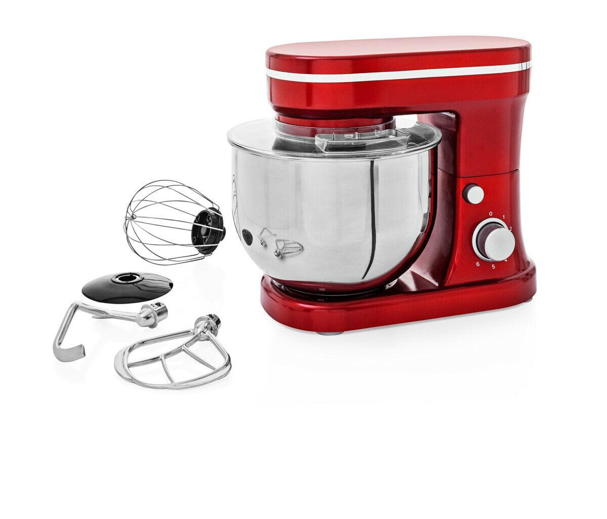 Küchenmaschine Retro-Look 4,2Liter Edelstahl-Rührschüssel metallic-rot 1200 Watt