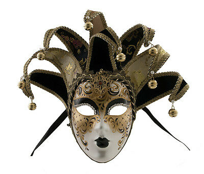 Mask from Venice Volto Jolly Black and Golden 8 Spikes Duchess 1590