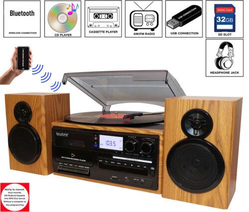 Boytone BT-28SPW 3-Speed Bluetooth Turntable, Record Player, CD, cassette, AM,FM
