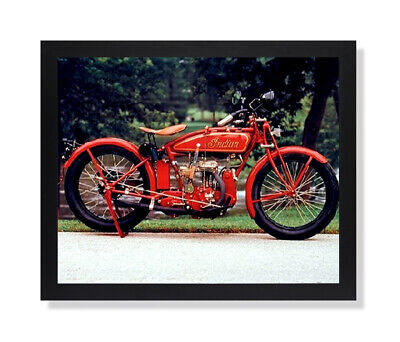Old Red Vintage Indian Motorcycle Wall Picture Black Framed Art Print