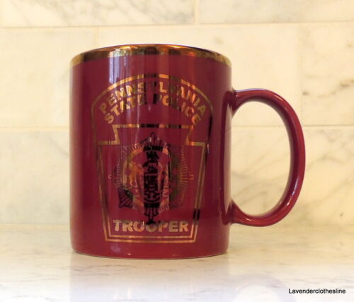 Pennslyvania State Police Trooper Coffee Mug Burgundy & Gold NEW