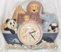 Vintage Noah's Ark Wall Clock Nursery Baby Room Two By Two Rainbow Kids Time