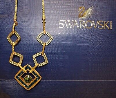 Fabric Jewelry - Swarovski Necklace Sparkling Dance Triple 14 k Gold Plated Medium  Crystallized