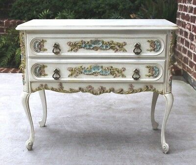 VINTAGE French Country Painted Polychrome 2-Drawer Chest End Table Nightstand