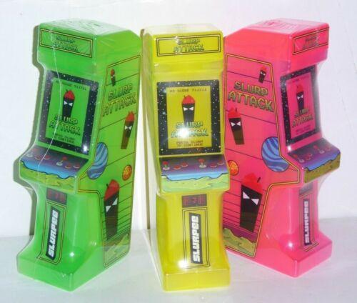 (3) 7-11 SLURPEE SLURP ATTACK video arcade game COMPLETE SET green yellow pink