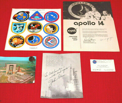 Lot NASA Memorabilia MIX John Glenn Signature APOLLO 14 Pin Business Card XZ