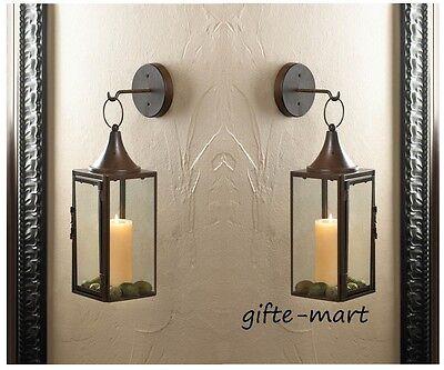 2 Brown iron Artisanal Sconce WALL hook hurricane candle holder hanging lantern
