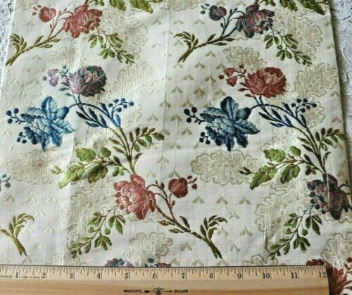 "Rare Stunning French Antique 18thC Silk Rose Brocade Fabric~L-39"" X W-13"""