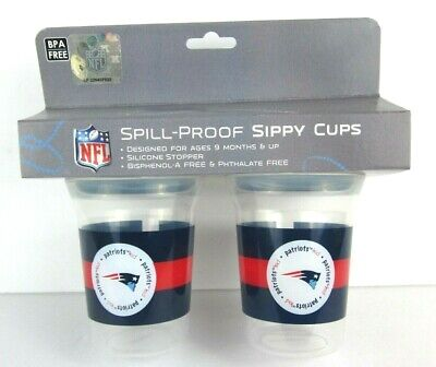 New England Patriots NFL 5oz Spill Proof Sippy Cup 2 Pack BPA Free