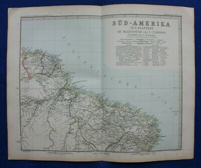 Original antique map SOUTH AMERICA, DUTCH GUYANA, FRENCH GUYANA, Stieler, 1891