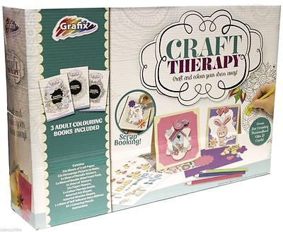 GRAFIX ADULT ANTI-STRESS COLOURING & PAPER CRAFT COLOUR THERAPY KIT SET RELIEF
