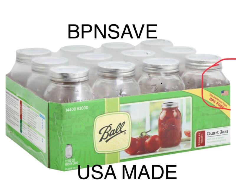 Ball Regular Mouth Clear Glass Mason Jars 32oz Qt. Canning Preserve Lids 12USA