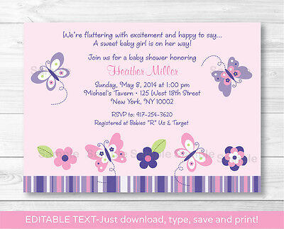 Pink Purple Butterfly Garden Printable Baby Shower Invitation Editable PDF