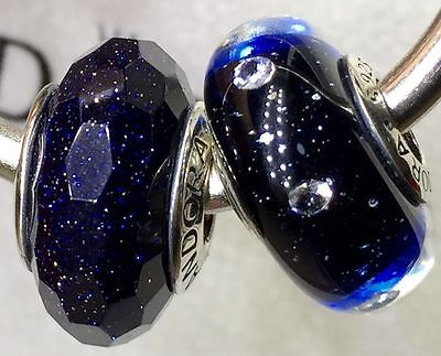 2X Authentic Pandora 925 ale  silver beads  charm glass black shimmer blue b