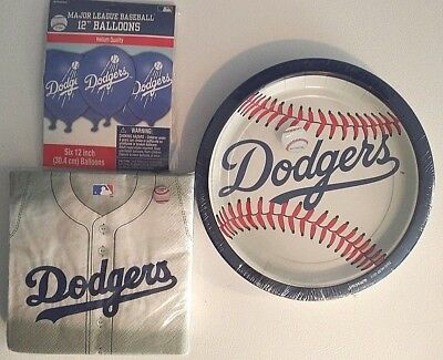 LOS ANGELES DODGERS Party Supply Decoration Kit w/ Napkins, Plates & Balloons !