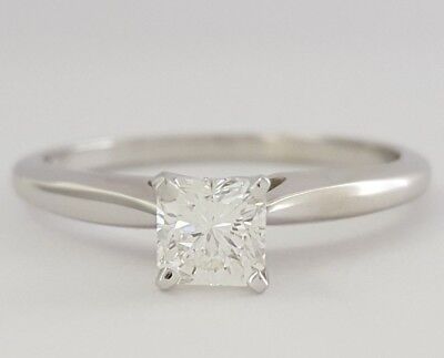 0.48 ct 14K W Ideal Radiant Cut Diamond Solitaire Engagement Ring GIA